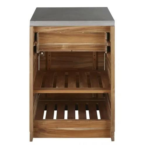 meuble bas de cuisine d exterieur 1 tiroir en acacia massif l60 maisons du monde