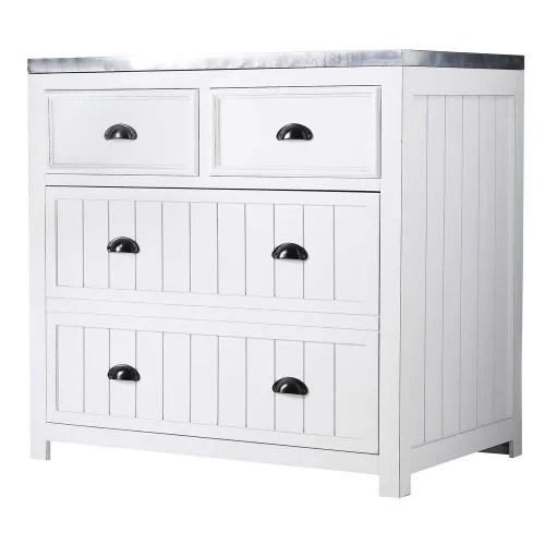 meuble bas de cuisine en pin blanc l90 maisons du monde
