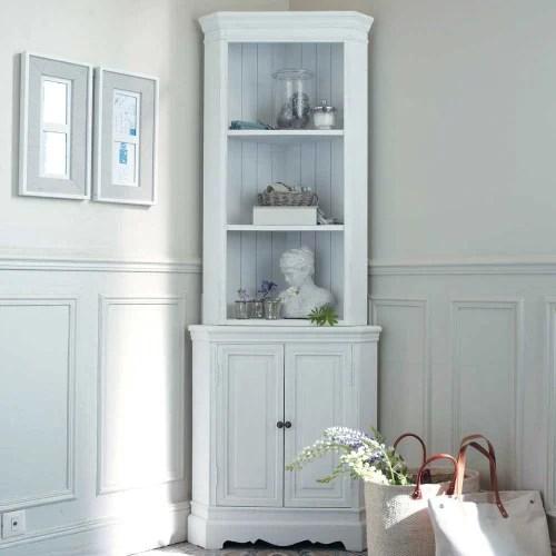 meuble d angle en bois de paulownia blanc l 73 cm maisons du monde
