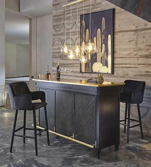 Meuble De Bar 1 Tiroir 1 Porte Coloris Laiton Et Noir Gotham Maisons Du Monde