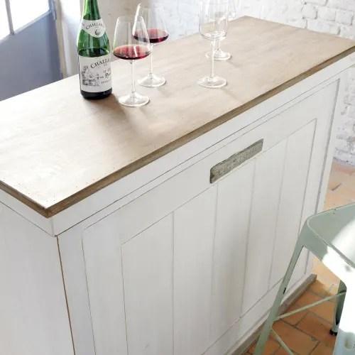meuble de bar avec tiroirs en bois blanc l129 maisons du monde