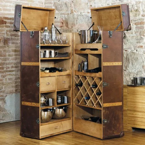 Meuble De Bar Avec Tiroirs En Cuir Jules Verne Maisons Du Monde
