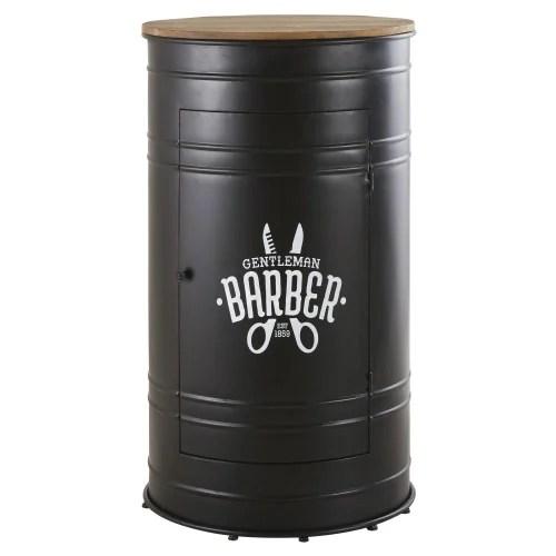 Meuble De Bar En Metal Noir Et Sapin Massif Harlem Maisons Du Monde