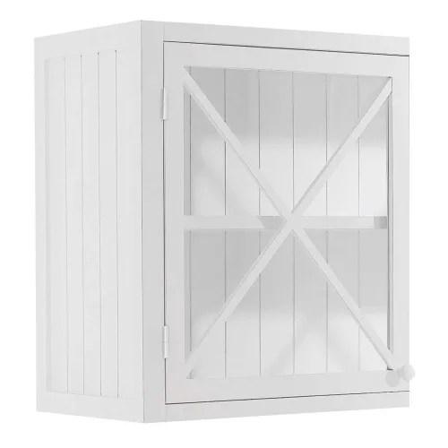 meuble haut de cuisine 1 porte vitree poignee a droite blanc maisons du monde