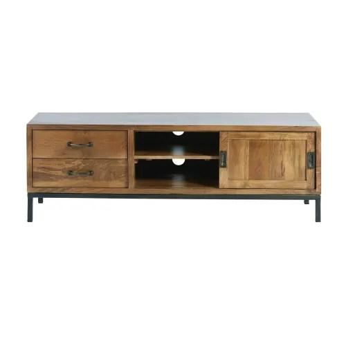 meuble tv 1 porte 2 tiroirs en manguier massif et metal noir maisons du monde