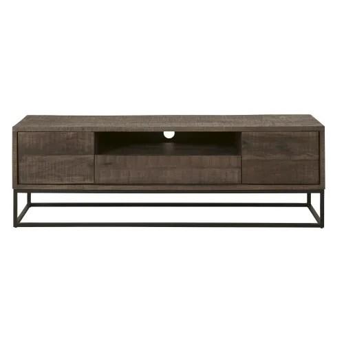 meuble tv 2 portes 1 tiroir en manguier massif maisons du monde