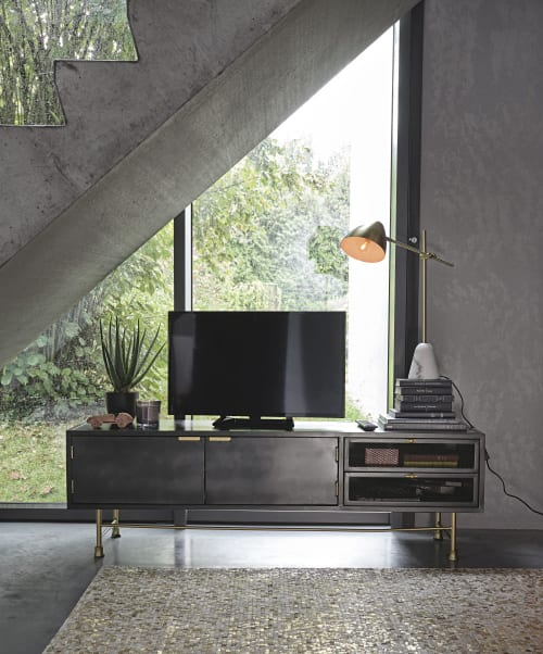 meuble tv 2 portes 2 tiroirs en metal gris anthracite maisons du monde