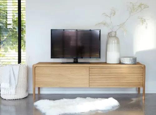 meuble tv 2 portes en chene massif maisons du monde