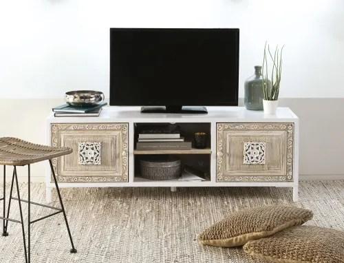 meuble tv 2 portes en metal blanc et manguier sculpte maisons du monde