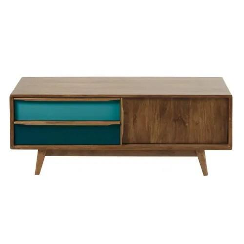meuble tv 2 tiroirs en manguier bleu et gris maisons du monde