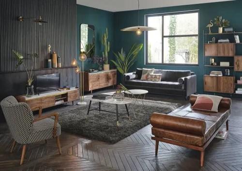 meuble tv 3 portes en acacia massif et marbre blanc maisons du monde