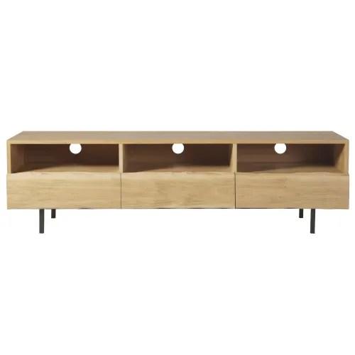meuble tv 3 tiroirs en chene massif maisons du monde