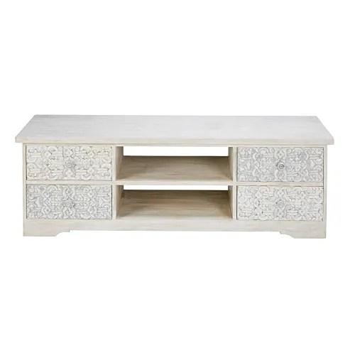 meuble tv en manguier sculpte et blanchi maisons du monde