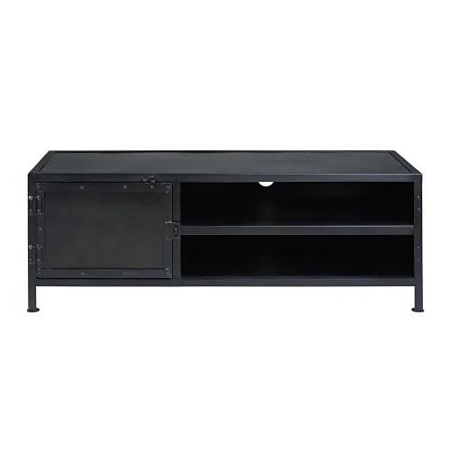 meuble tv indus 1 porte en metal noir maisons du monde