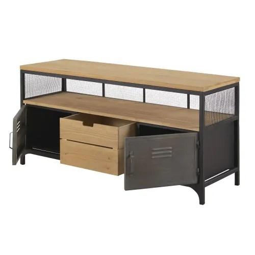meuble tv indus 1 tiroir 2 portes en sapin et metal maisons du monde