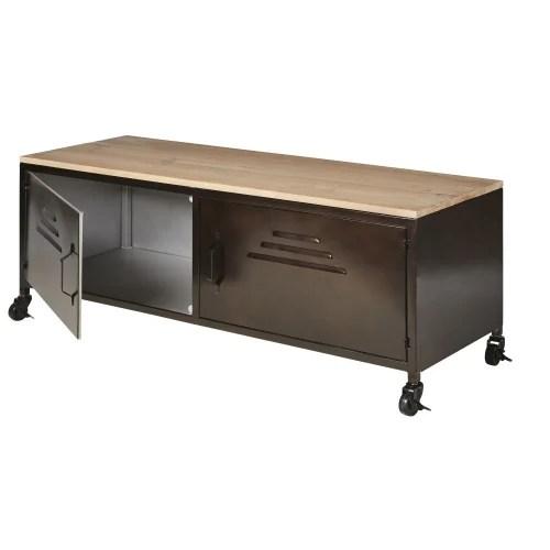 meuble tv indus a roulettes 2 portes en metal et sapin maisons du monde