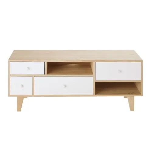 meuble tv style scandinave 4 tiroirs en paulownia blanc maisons du monde
