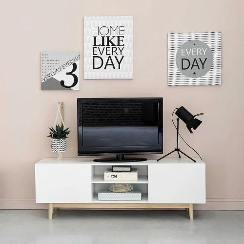 meuble tv vintage 2 portes blanc maisons du monde
