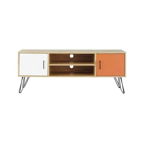 meuble tv vintage blanc et orange maisons du monde