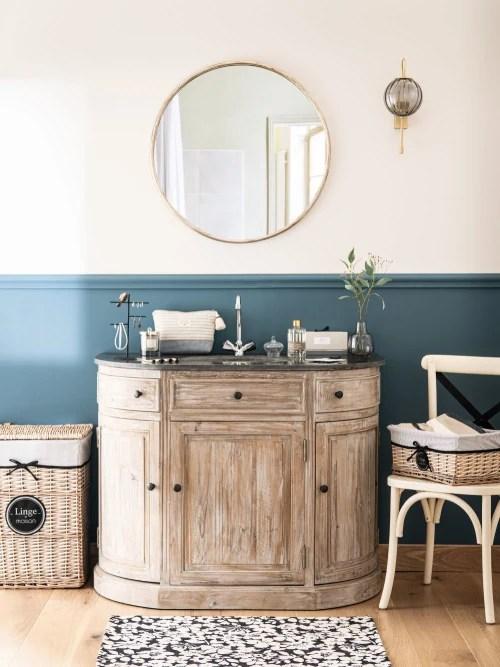 meuble vasque en pin recycle et pierre bleue maisons du monde