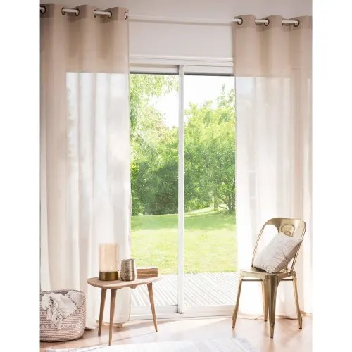 osenvorhang aus baumwolle und leinen beige mit pailletten 140x250 1 vorhang maisons du monde