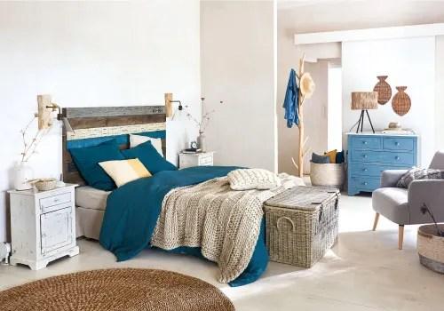 parure de lit en lin lave bleu paon 240x260 maisons du monde