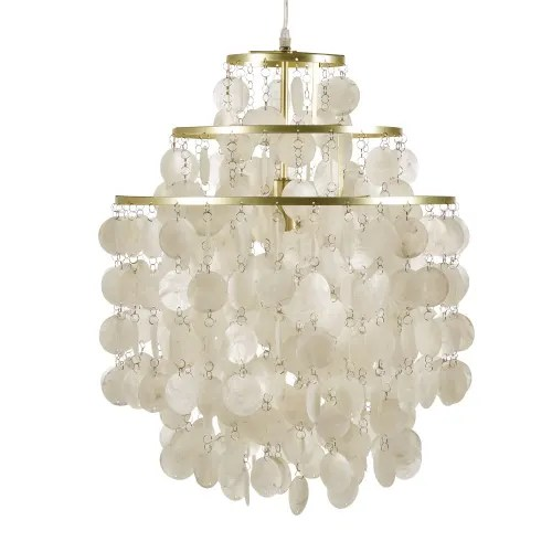 Pendant Light With Mother Of Pearl And Golden Metal Drops Kuta Maisons Du Monde