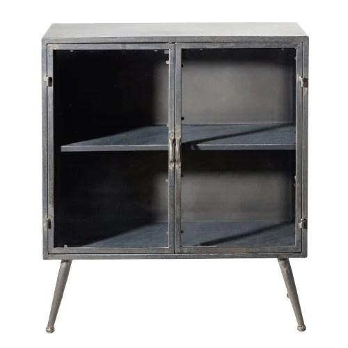 petit meuble de rangement 2 portes en verre et metal maisons du monde