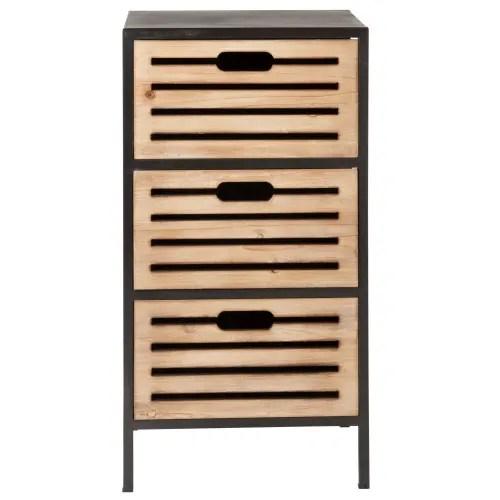 petit meuble de rangement 3 tiroirs en metal maisons du monde