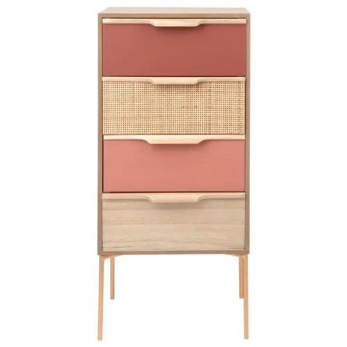 petit meuble de rangement 4 tiroirs en metal dore maisons du monde