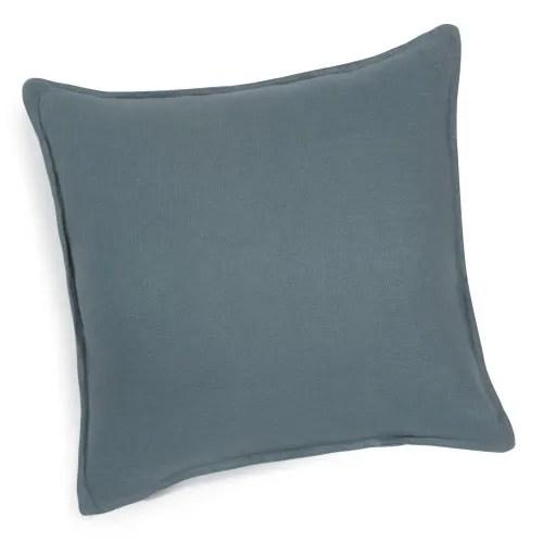 petrol blue washed linen cushion 60x60 maisons du monde