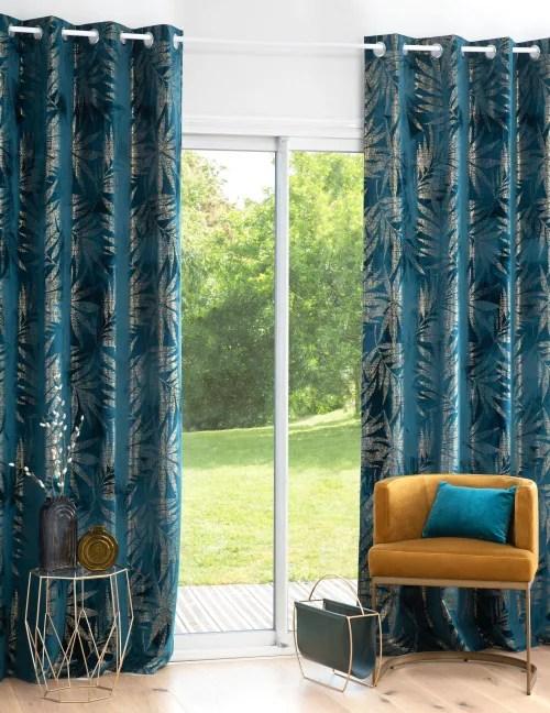 rideau a œillets bleu et vert a l unite 135x250 maisons du monde