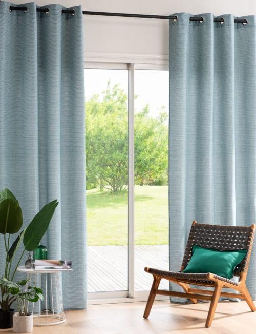 rideau a oeillets bleu vert et banc a l unite 140x250 maisons du monde