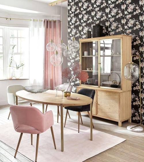 rideau a œillets en coton tisse jacquard rose poudre a l unite 130x300 maisons du monde