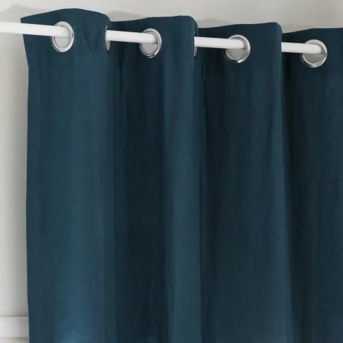 rideau a œillets en lin lave bleu paon a l unite 130x300 maisons du monde