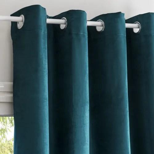 rideau a œillets en velours bleu canard a l unite 140x300 maisons du monde