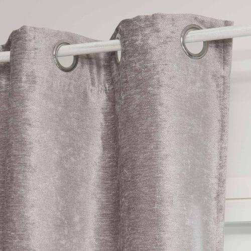 rideau a œillets en velours gris a l unite 140x300 maisons du monde