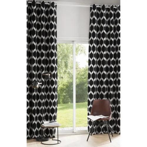 rideau a œillets en velours noir motifs jacquard a l unite 140x300 maisons du monde