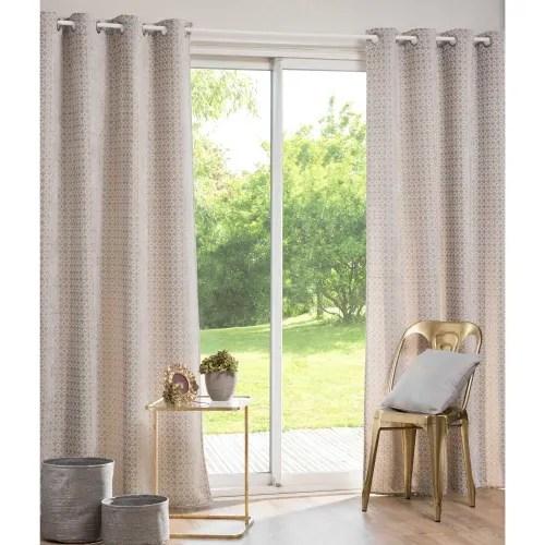 rideau a œillets gris et blanc motifs graphiques 140x270 maisons du monde