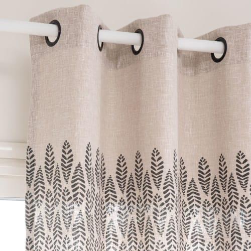 rideau a œillets imprime beige et gris anthracite a l unite 140x250 maisons du monde