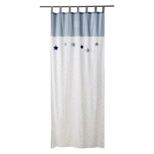 rideau a passants en coton blanc et bleu imprime a l unite 110x250 maisons du monde