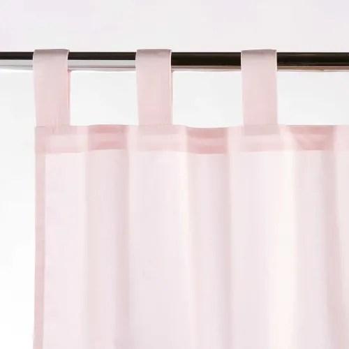 rideau en coton blanc et rose a l unite 110x250 maisons du monde