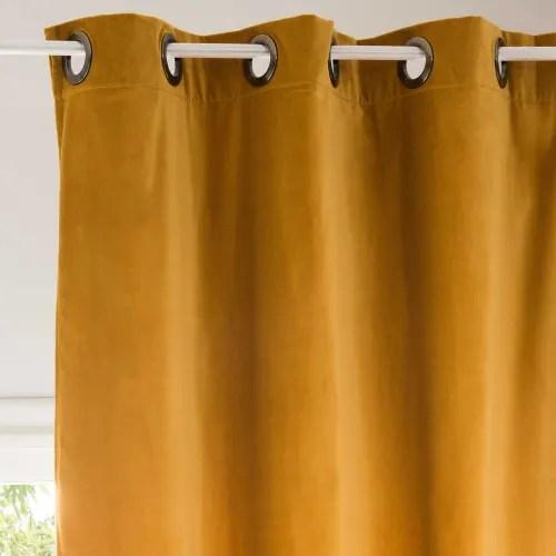 rideau en velours jaune moutarde a l unite 140x300 maisons du monde