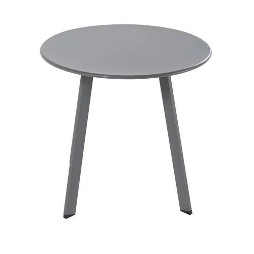 round anthracite grey metal garden coffee table maisons du monde