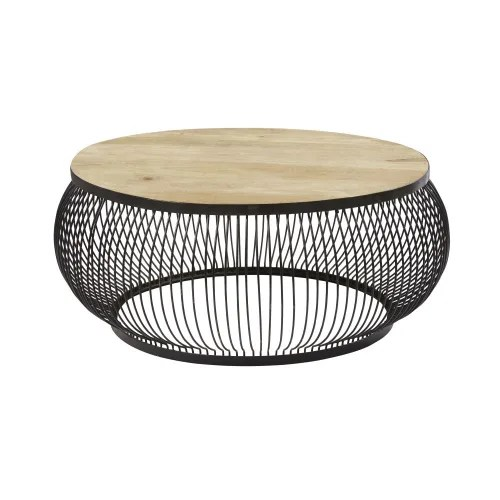 round black metal and solid mango wood coffee table maisons du monde
