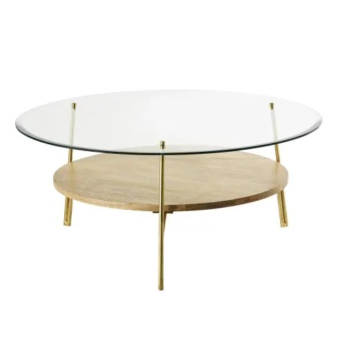 round tempered glass and solid mango wood coffee table maisons du monde