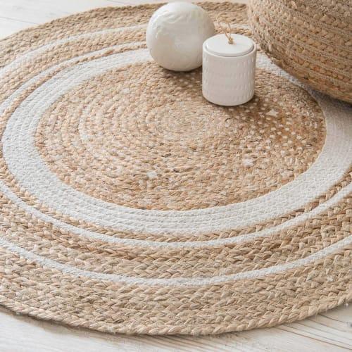 runder teppich aus weisser baumwolle und jute d 90 cm maisons du monde