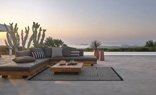salon de jardin 4 6 places en acacia massif et toile gris anthracite maisons du monde