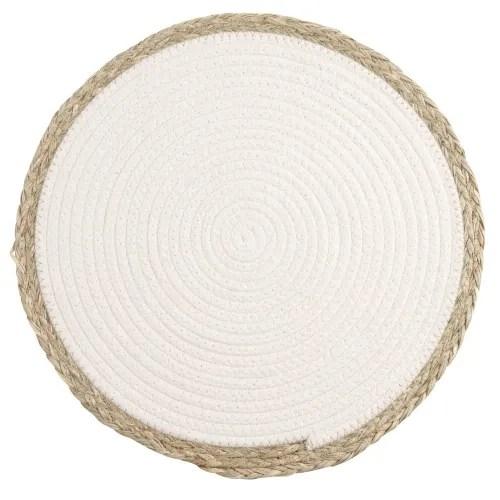 set de table blanc et bordures en fibre vegetale maisons du monde