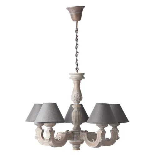 Slightly Bleached Chandelier With Grey Shades Montmartre Maisons Du Monde
